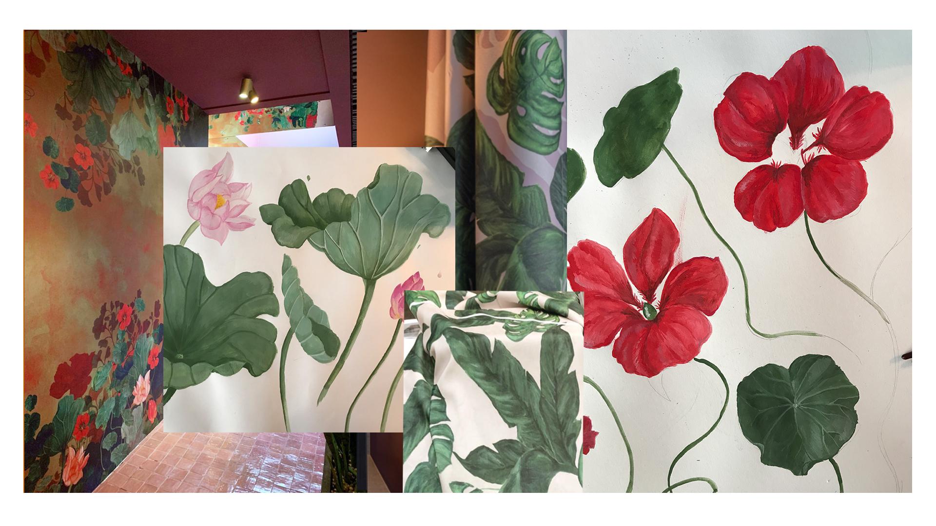 Op deze afbeelding is een moodboard te zien van verschillende handgeschilderde werken en foto's van behang en stof ontwerpen gemaakt door Elisabeth Ruijgrok.